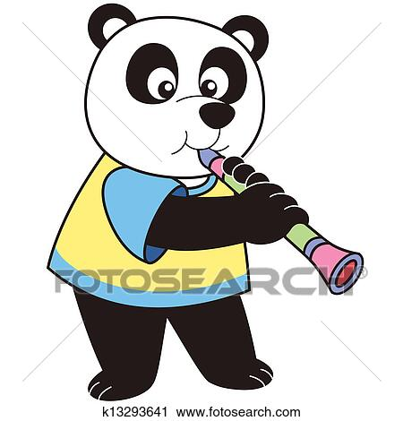 clipart of cartoon panda playing a clarinet k13293641 search clip rh fotosearch com
