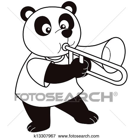 clip art of cartoon panda playing a trombone k13307967 search rh fotosearch com trombone clipart black and white trombone clip art free