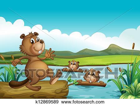Castori gioco in il fiume con legnhe clip art k