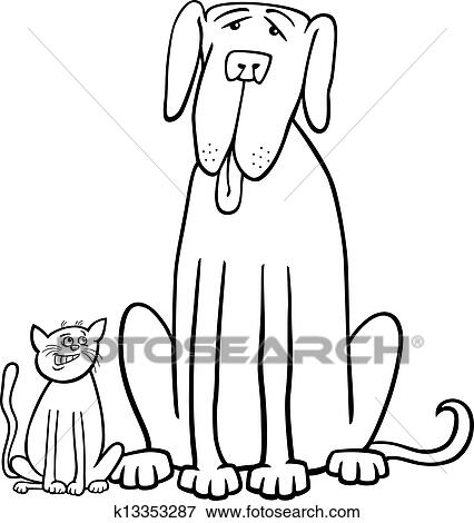 Clip Art of cat and dog cartoon for coloring book k13353287 - Search ...