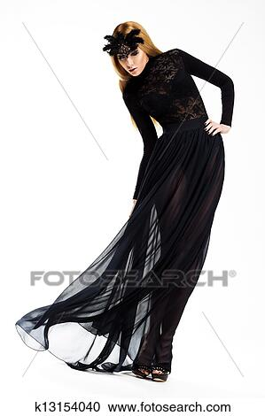 Stock Photography Of Celebration Classy Woman Dancing In Long Black