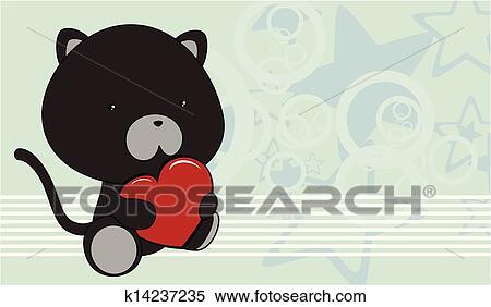 Chat noir, bébé, dessin animé, aimez coeur, b Clipart ...