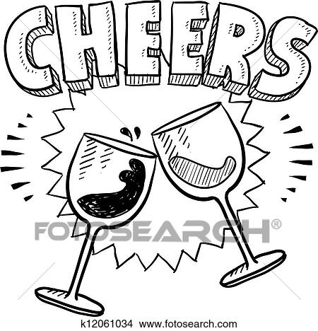 clipart of cheers celebration sketch k12061034 search clip art rh fotosearch com champagne cheers clipart cheers clipart black and white