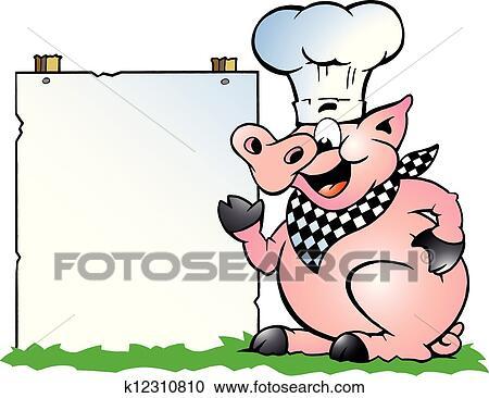 Chef cuistot cochon debout et pointage clipart - Dessin cochon debout ...