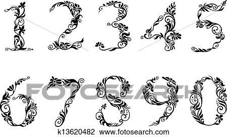 Chiffres Et Nombres Ensemble A Floral Details Clipart K13620482 Fotosearch