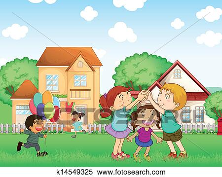 Kids Playing Outside Cliparts, Stock Vector And Royalty Free Kids Playing  Outside Illustrations