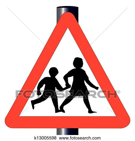clip art of children traffic sign k13005598 search clipart rh fotosearch com traffic clipart free traffic clipart black and white