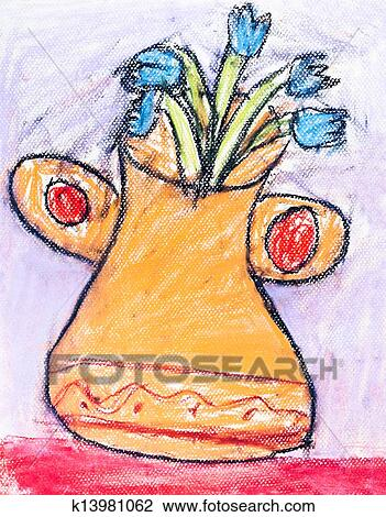 Stock Photo Of Childs Drawing Flower Vase K13981062 Search