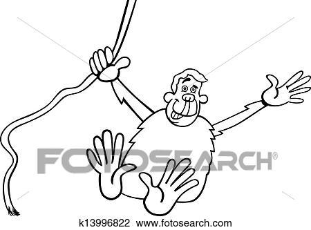 Clipart - chimpancé, caricatura, ilustración, para, colorido ...