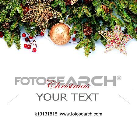 Christmas Decoration Holiday Decorations Isolated On White Background Border Design