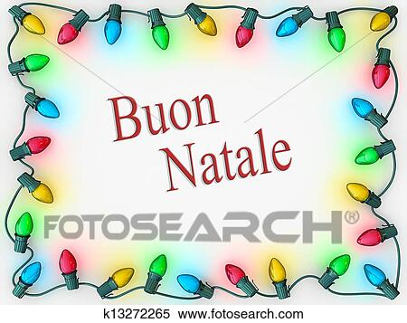 christmas lights as a boarder to frame merry christmas in italian - How To Say Merry Christmas In Italian