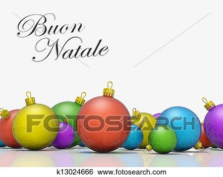 a row of christmas ornaments with the text merry christmas in italian