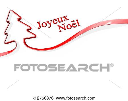 stock illustration christmas tree ribbon merry christmas french language fotosearch search clip art - Merry Christmas French