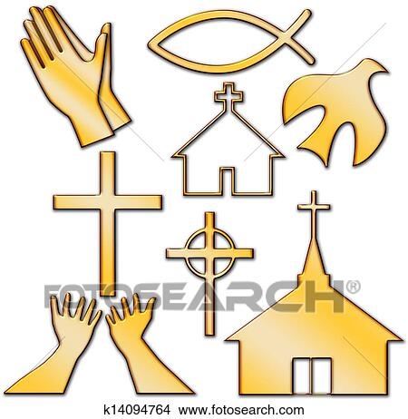 Drawings Of Church And Other Christian Symbol Set K14094764 Search
