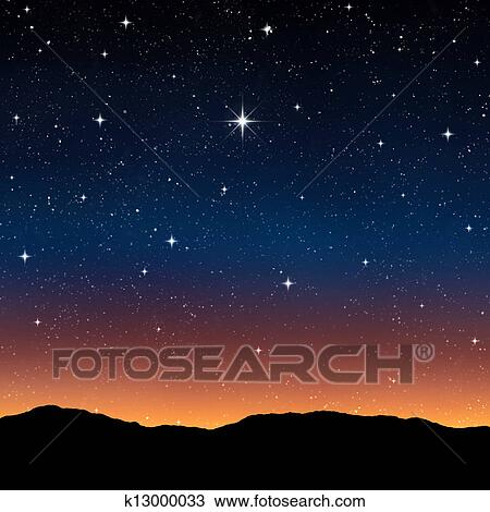 Disegno Cielo Stellato Notte K13000033 Cerca Clipart