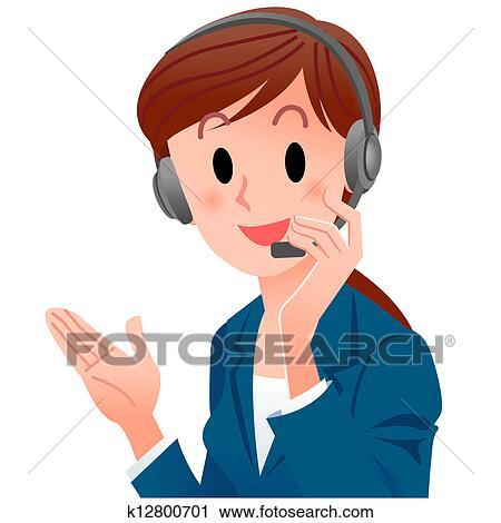 clipart of close up cute support phone operator smiling in suit rh fotosearch com support clip art free support clip art free