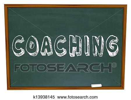 stock illustration of coaching word chalkboard teaching learning