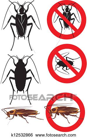 clip art of cockroach warning signs k12532866 search clipart rh fotosearch com cockroach clipart png cockroach climates
