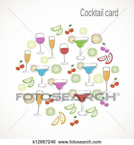 Cocktail Karte.Cocktail Karte Clip Art