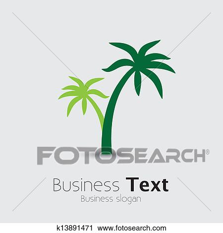 Clipart Of Coconut Palm Tree Icons Or Symbols Of Travel Vector