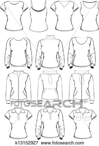 clip art of collection of women clothes outline templates k13152927