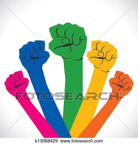 Colorful Every Hand Show The Unity Clip Art K13068429 Fotosearch