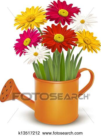 Clipart of colorful fresh spring flowers in orange watering can clipart colorful fresh spring flowers in orange watering can vector illustration fotosearch mightylinksfo