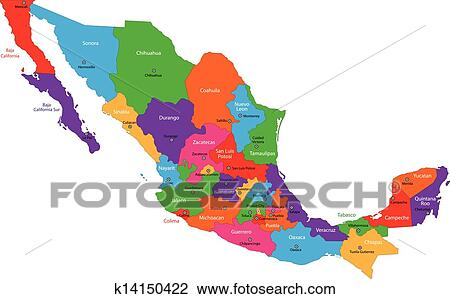 Colorful Mexico map Clipart