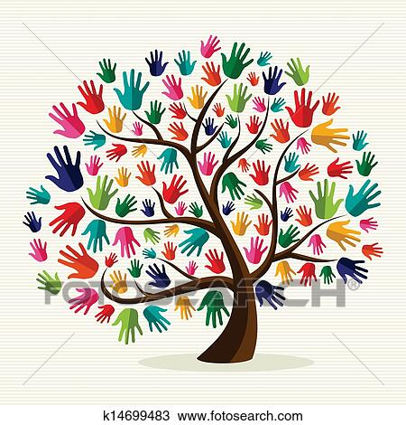 Colorful Solidarity Hand Tree Clipart K14699483 Fotosearch