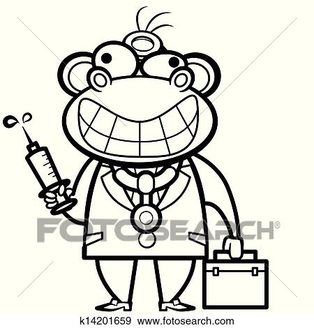 Clip Art Of Coloring Cartoon Monkey Doctor With First Aid Kit And
