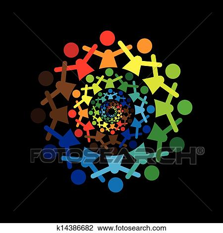 Concept vector graphic- abstract colorful kids together icons(si Clipart