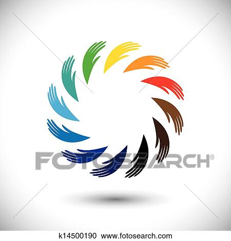 Concept Vector Graphic Human Hand Symbols Icon As Colorful Cir Clipart K14500190 Fotosearch