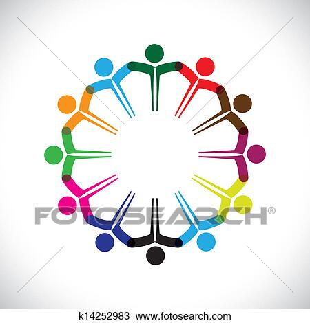 clipart of concept vector graphic people or kids icons with hands rh fotosearch com christian unity clipart unity clipart png