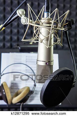 Stock Image - Condenser microphone in vocal recording room. Fotosearch - Search Stock Photos,