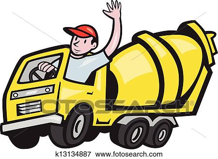 clip art of construction worker driver cement mixer truck k13134887 rh fotosearch com clipart concrete truck concrete mixer clipart