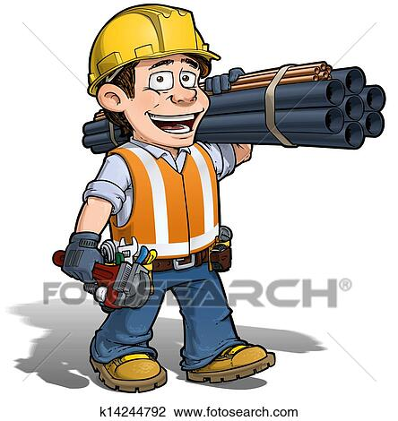 clip art of construction worker plumber k14244792 search clipart rh fotosearch com construction worker clipart free construction worker clip art free