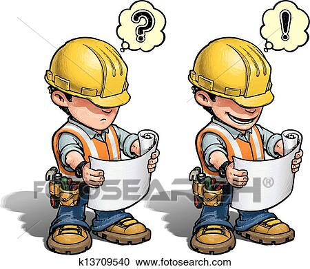 clipart of construction worker reading plan k13709540 search rh fotosearch com construction worker clip art images construction workers clip art cartoons
