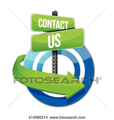 clipart of contact us target road sign illustration design k14080214