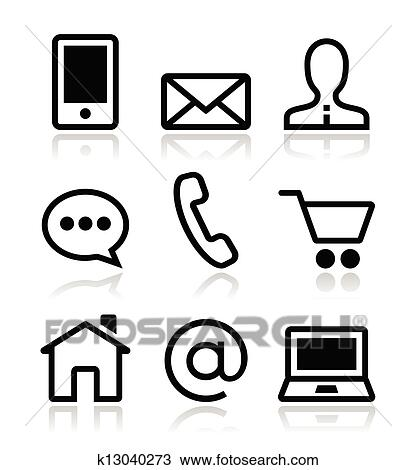 clipart of contact web vector icons set k13040273 search clip art rh fotosearch com clip art icons free clipart construction