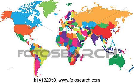 Corolful 世界地図 クリップアート切り張りイラスト絵画集