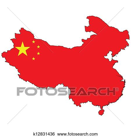 stock illustration of country outline with the flag of china