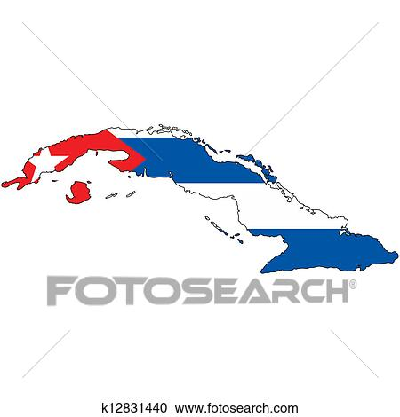 Stock Illustrations Of Country Outline With The Flag Of Cuba
