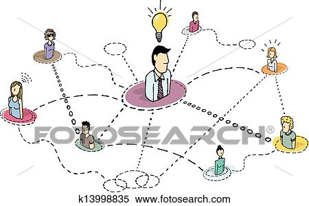 Clipart of Creative thinking teamwork / Idea process or ...