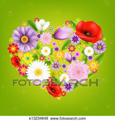 Cuore Da Fiori Con Sfondo Verde Clip Art K13234649 Fotosearch