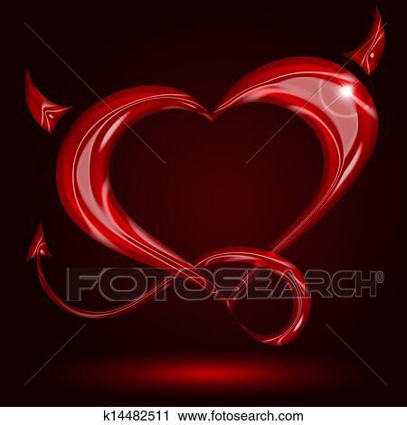 Cuore Rosso Con Coda E Corna Su Sfondo Nero Clip Art