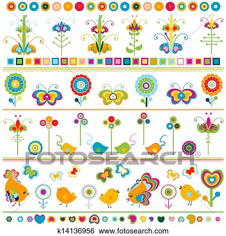 clip art of cute borders with colorful elements k14136956 search