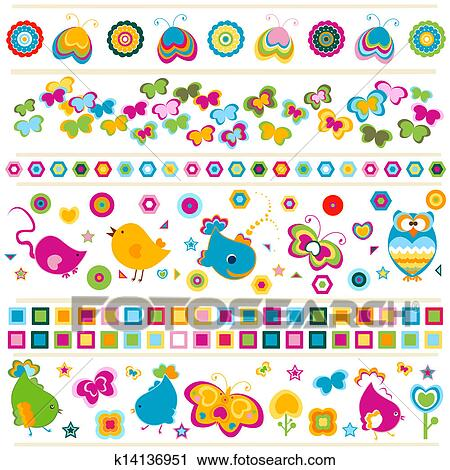 clipart of cute borders with colorful elements k14136951 search
