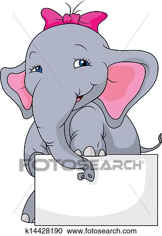 Cute elephant with blank sign Clipart | k14428190 | Fotosearch