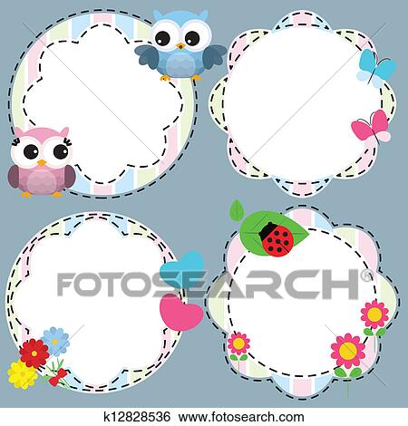 Clip Art of Cute frames with flowers and birds k12828536 - Search ...