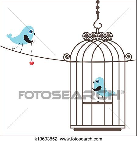 Clipart Of Cute Love Birds In Birdcage K13693852 Search Clip Art